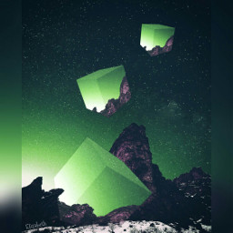 madewithpicsart cubes colorful green shapes