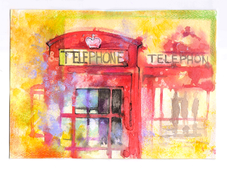 london redbox telephonebox londonbox watercolor
