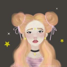art cute girl stars sparkle