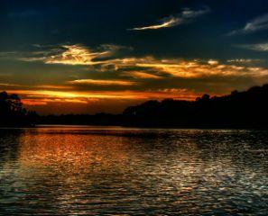 sunset lake clouds sunsets