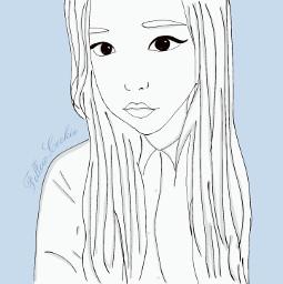 followcookie asiangirl draw selfie blue