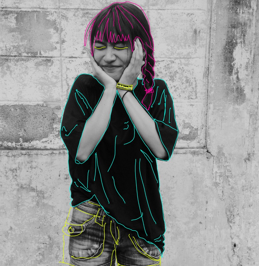 #awesome #freetoedit #girl #magenta #b&w #drawing #neon #neonoutlines #outlines