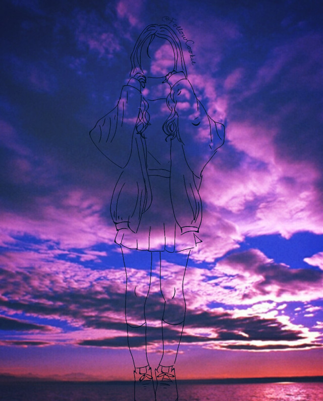 #followcookie #Japan #draw #pinkpurple #asiangirls #sunset #beautifulsky #style