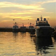 athens greece harbour harbor sunset