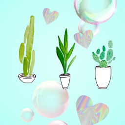 freetoedit hearts bubbles plants shiny